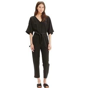 MADEWELL  Kimono Jumpsuit Black Linen Blend